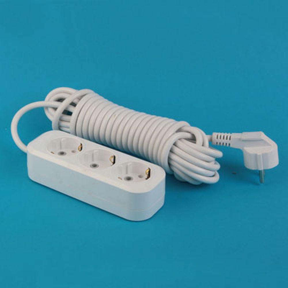 Удлинитель У10-8028S-3  3 гнезда, 10 м, с заземл., кабель ПВС, сечение 1 мм 10А 250В PowerMan