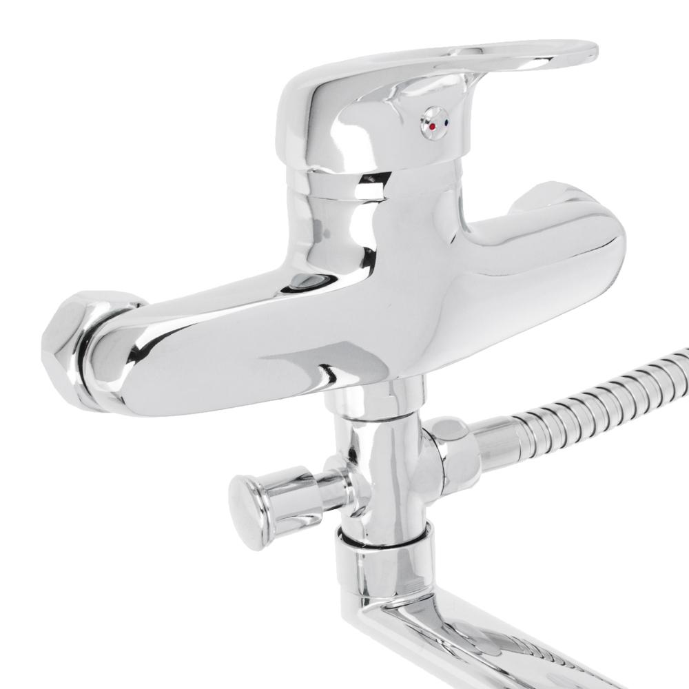 Смеситель для ванны, длинный прямой излив, керамический картридж 40 мм, хром, Klabb 05 211