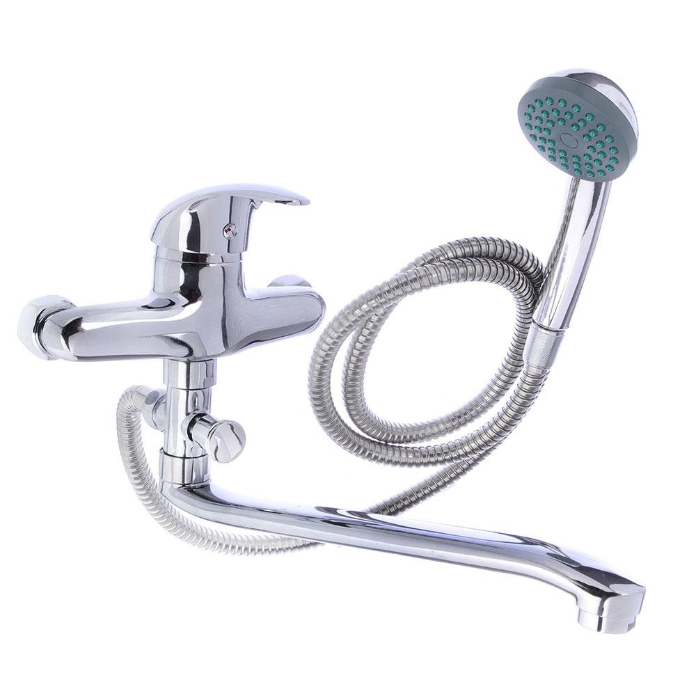 Смеситель Klabb 05 256 для ванны, дл. изогн. излив, керам. картридж 40 мм, хром