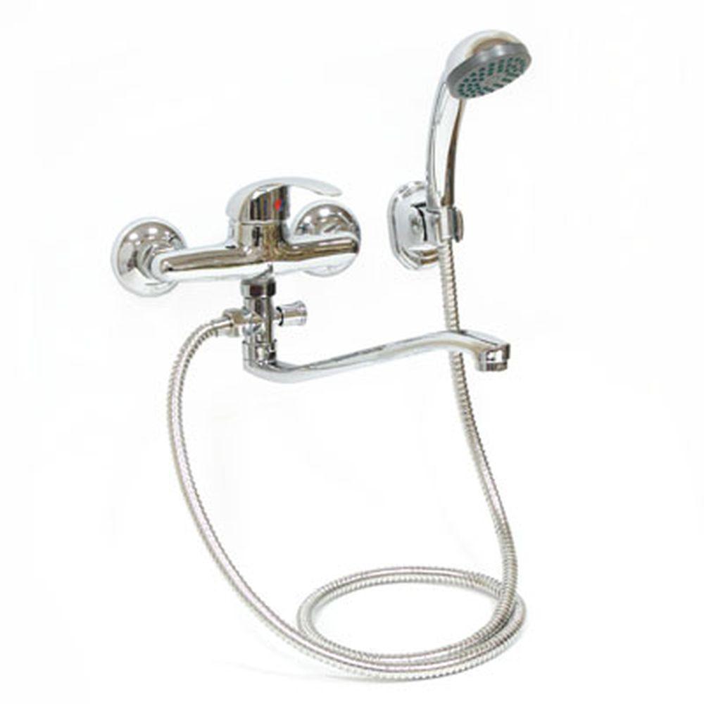 Смеситель Klabb 05 270 для ванны, дл. изогн. излив, керам. картридж 40 мм, хром