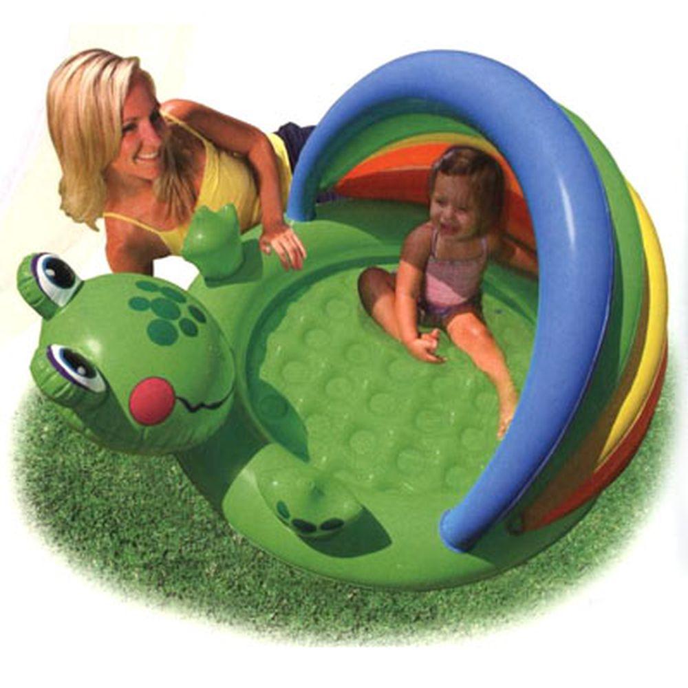 INTEX Бассейн детский Лягушонок, надувное дно, для 1-3 лет, 114*99*69см, 57416
