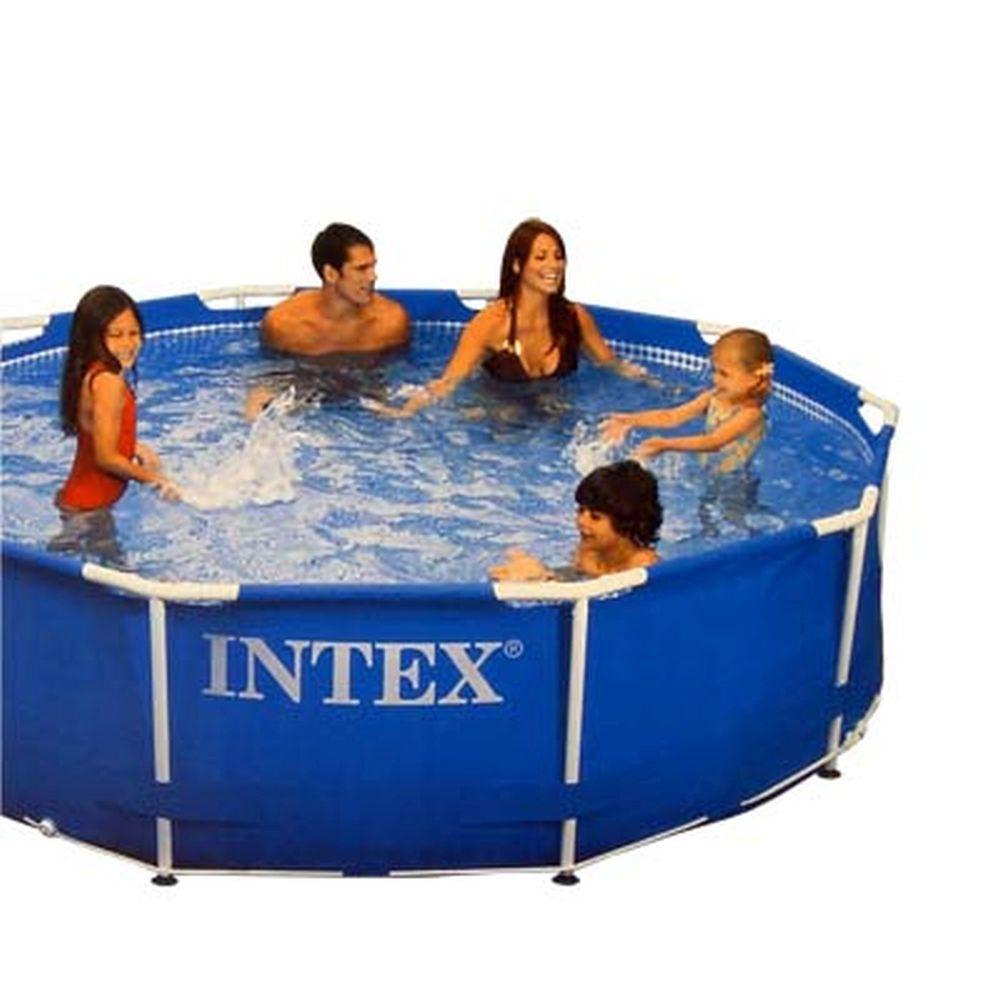 INTEX Бассейн каркас.метал, насос, лестница, тент, брезент, комп.д/еж.ух. 457*91см 56942