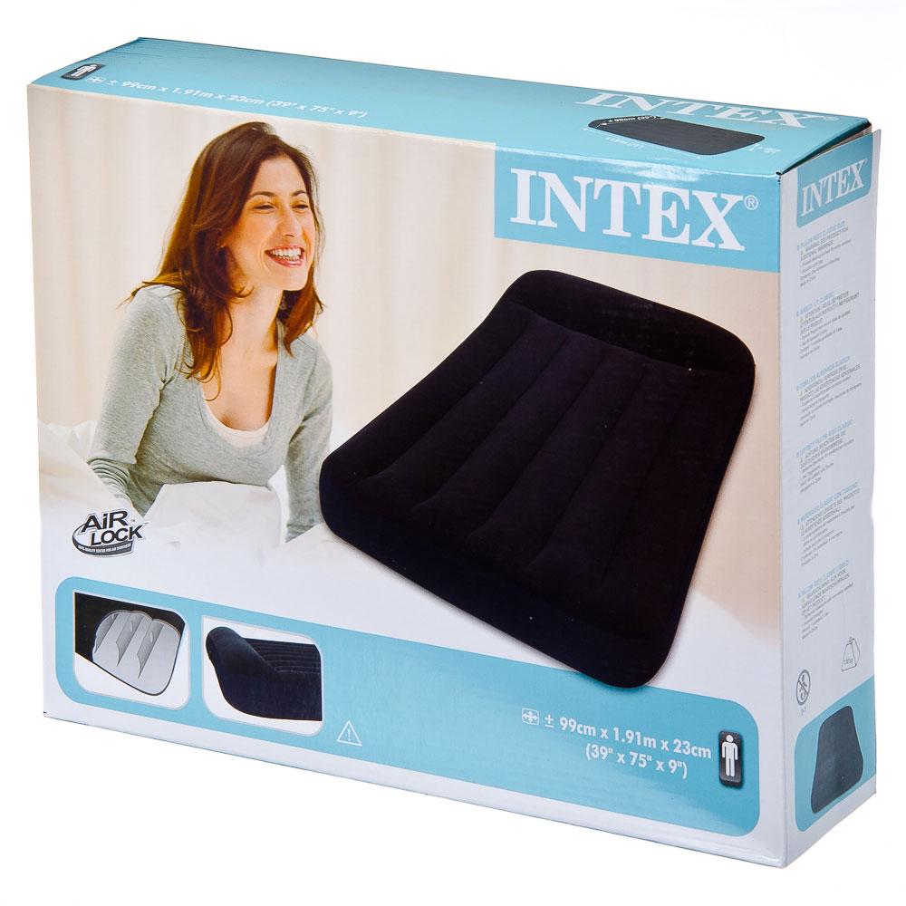 INTEX Кровать надувная Pillow Rest Classic с подголовником, 99x191x23см, сумка 66767