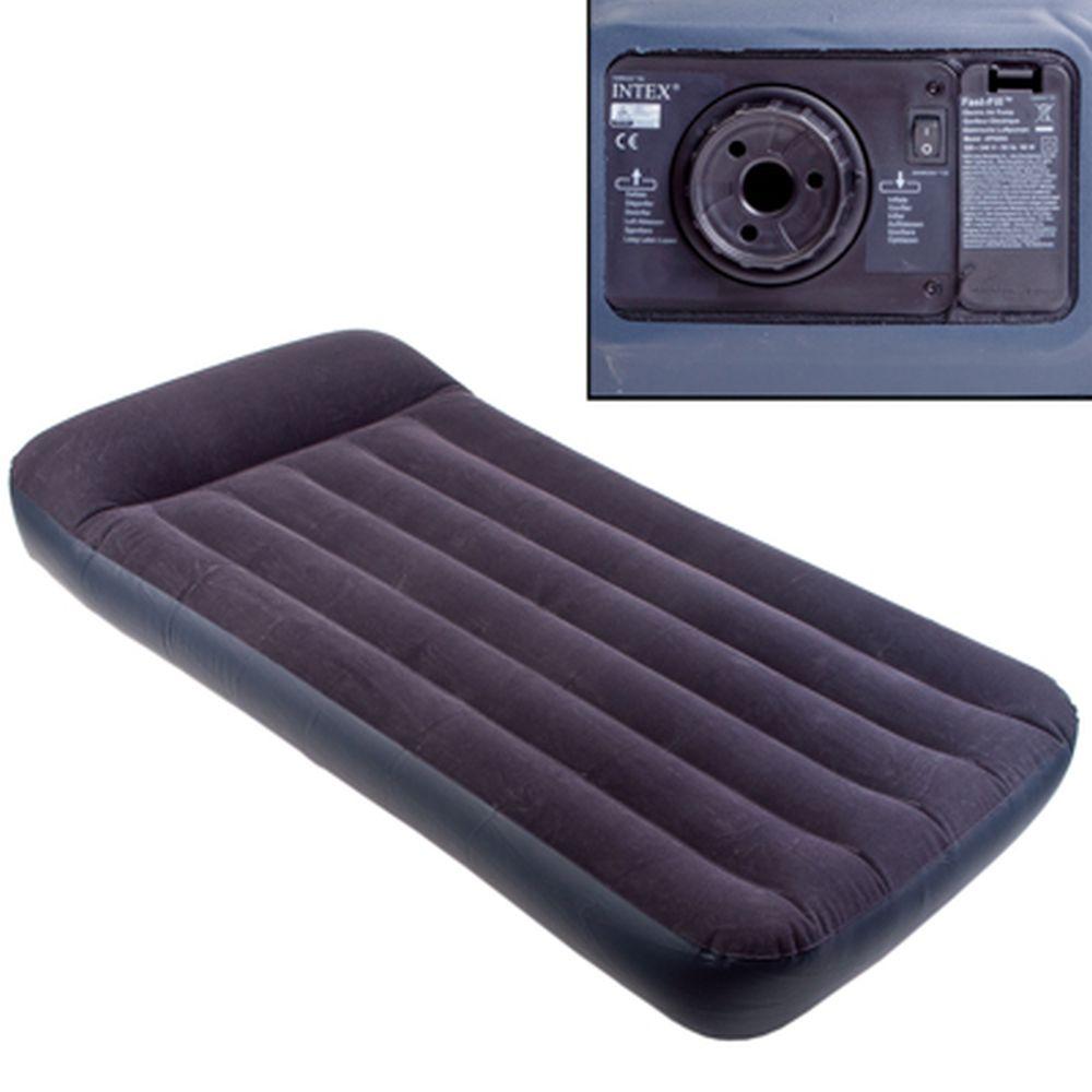 INTEX Кровать флок Pillow Rest Classic, 99x191x23см, встр. элнасос, 66779