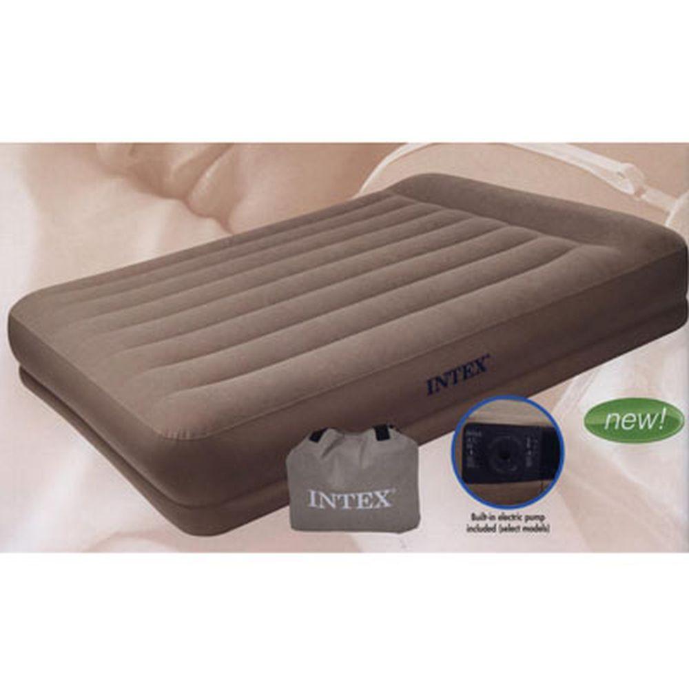 INTEX Кровать флок Pillow Rest Mid-Rise, хаки, 152*203*38см 67746