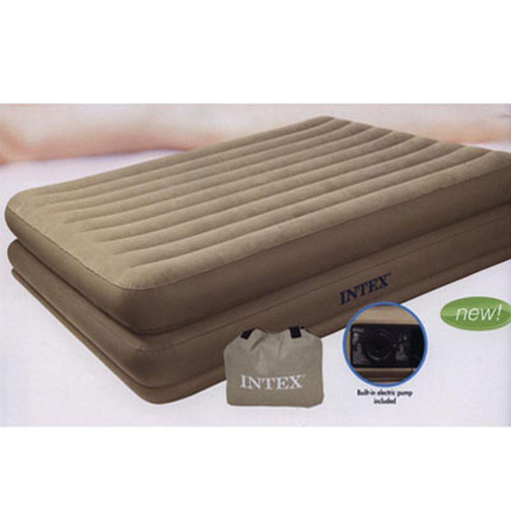 INTEX Кровать флок Comfort, встр.элнасос, хаки, 99*191*46см 67724