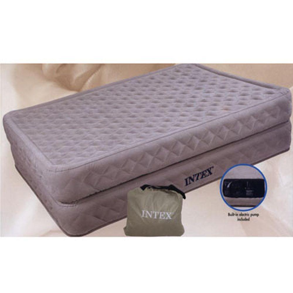 INTEX Кровать флок Ultra Plush, 152x203x43см, встр.элнасос, белый, 66958