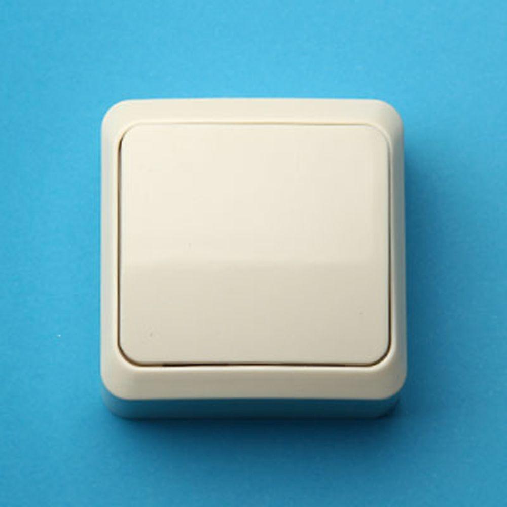 Выключатель одноклавишный, основание пластик, 10А 250В Fazenda 7021 (крем) PowerMan