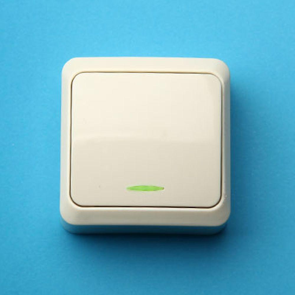 Выключатель одноклавишный с подсветкой, основание пластик, 10А 250В Fazenda 7121 (крем) PowerMan