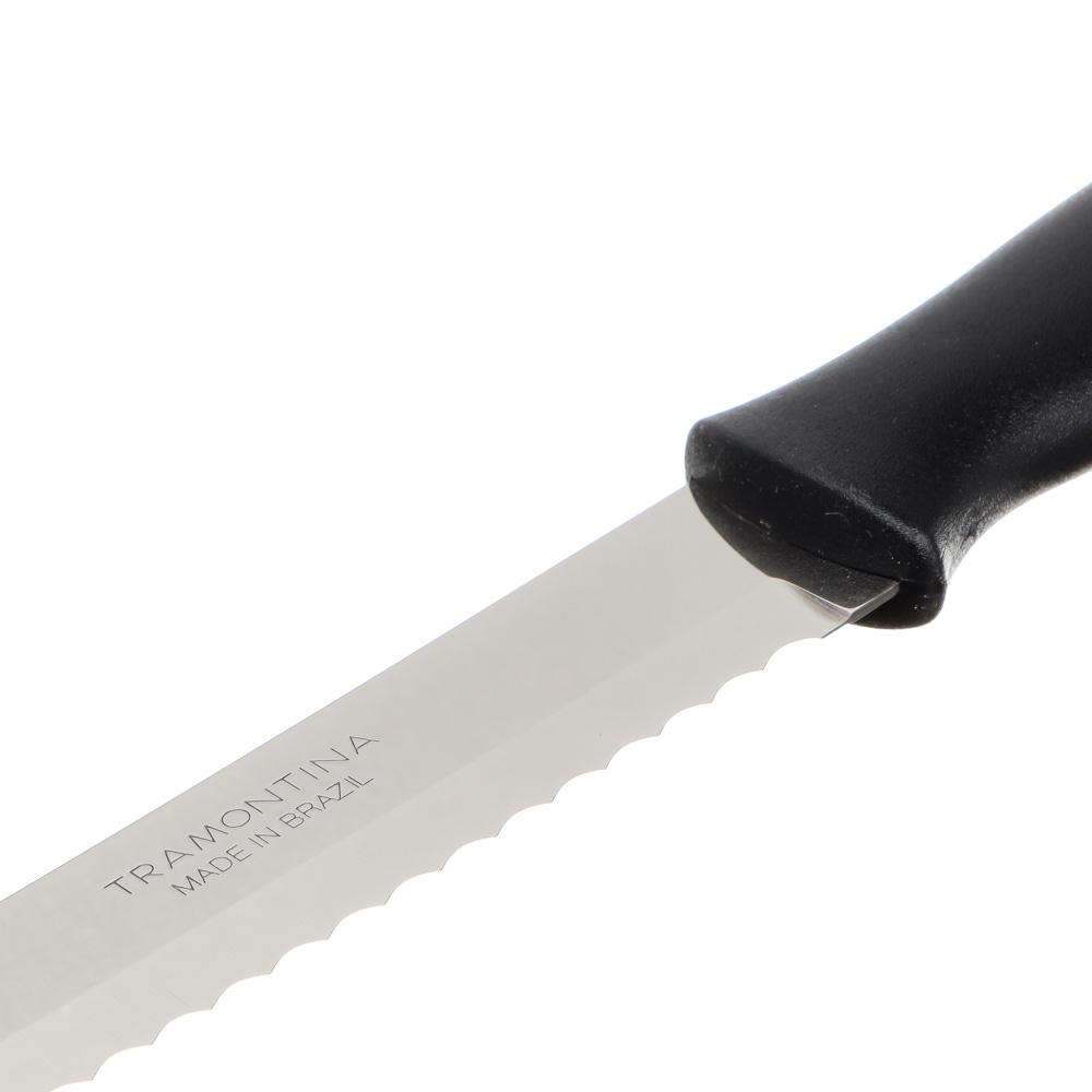 Нож для хлеба 18 см Tramontina Athus, черная ручка, 23082/007