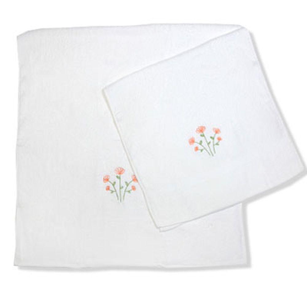 VETTA Набор полотенец 2шт банных с вышивкой 45x90см + 70x140см, Цветок белый