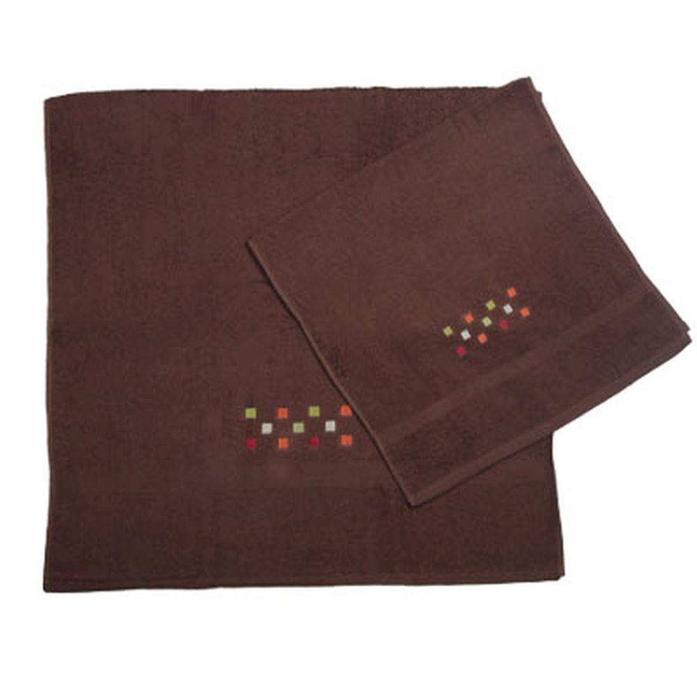 VETTA Набор полотенец 2шт банных с вышивкой 45x90см + 70x140см, Шашки коричневый