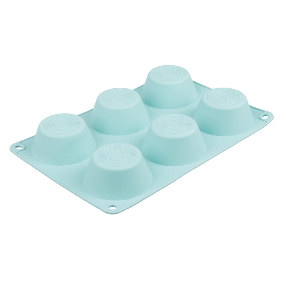 Форма для выпечки, 6 ячеек, силикон, 24.5х16.5x3 см, VETTA