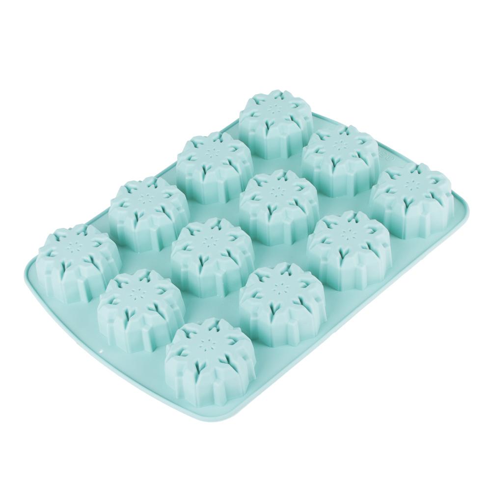 Форма для выпечки  VETTA Снежинка, 12 ячеек, силикон, 33.5х24х3 см