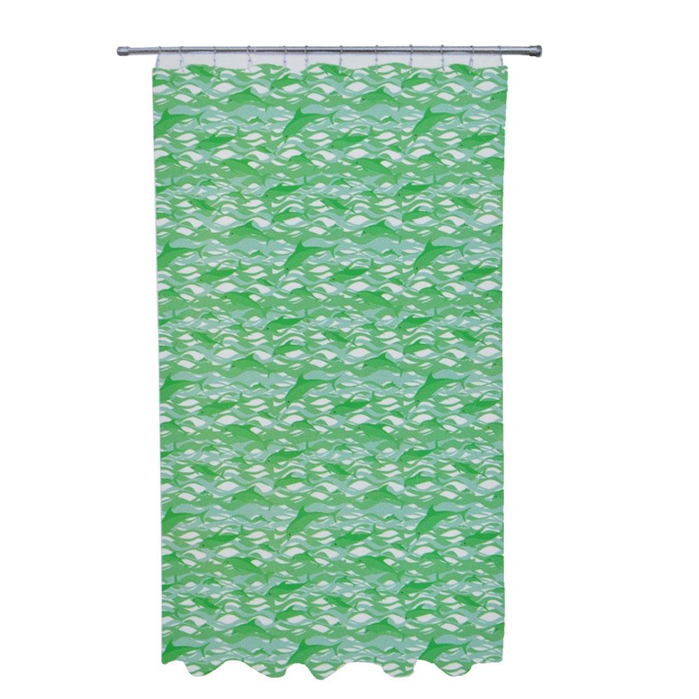 "VETTA Шторка для ванной, полиэстер, 170х180см, 210гр. ""Дельфин"", зеленая , YC02"