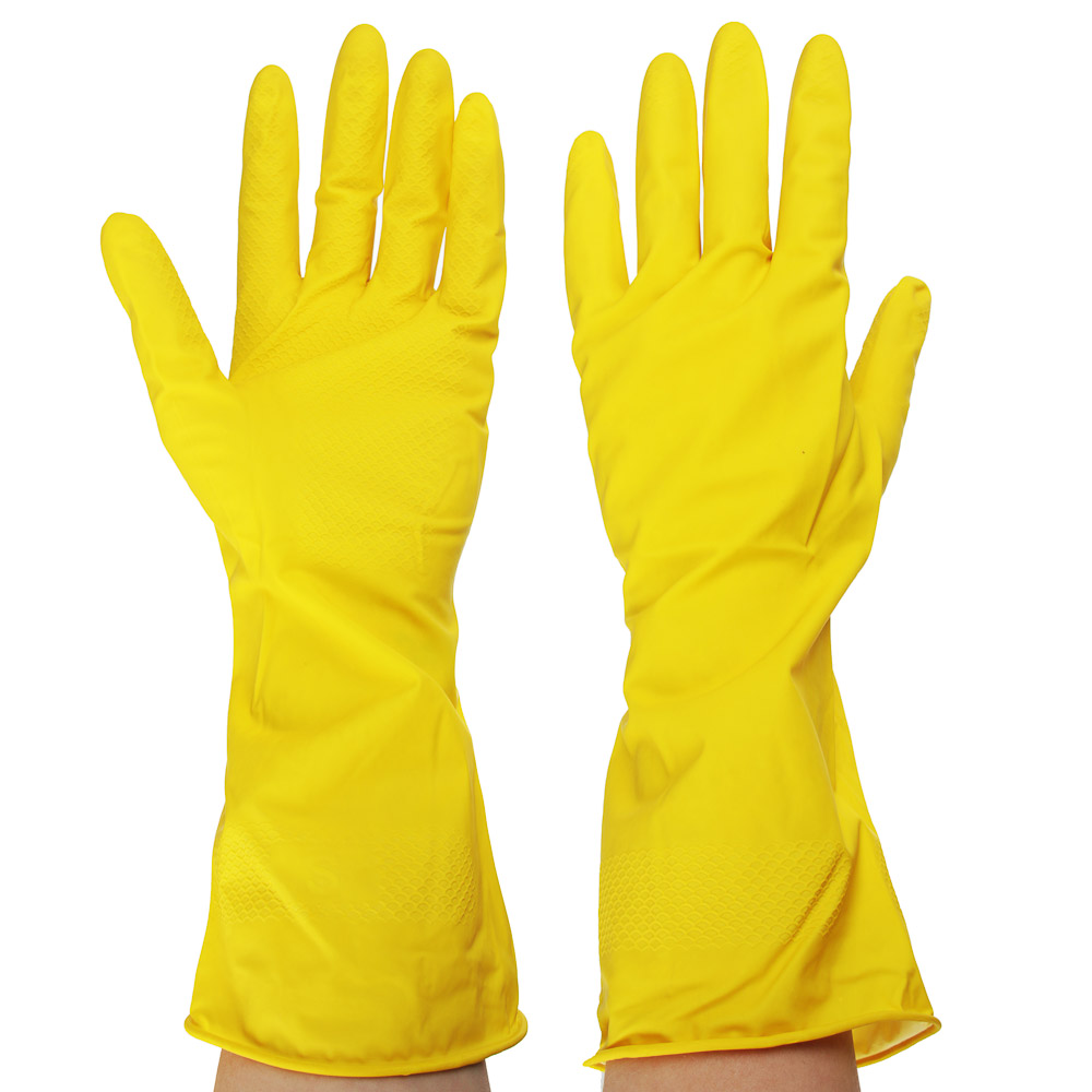 Перчатки резиновые желтые, S, VETTA