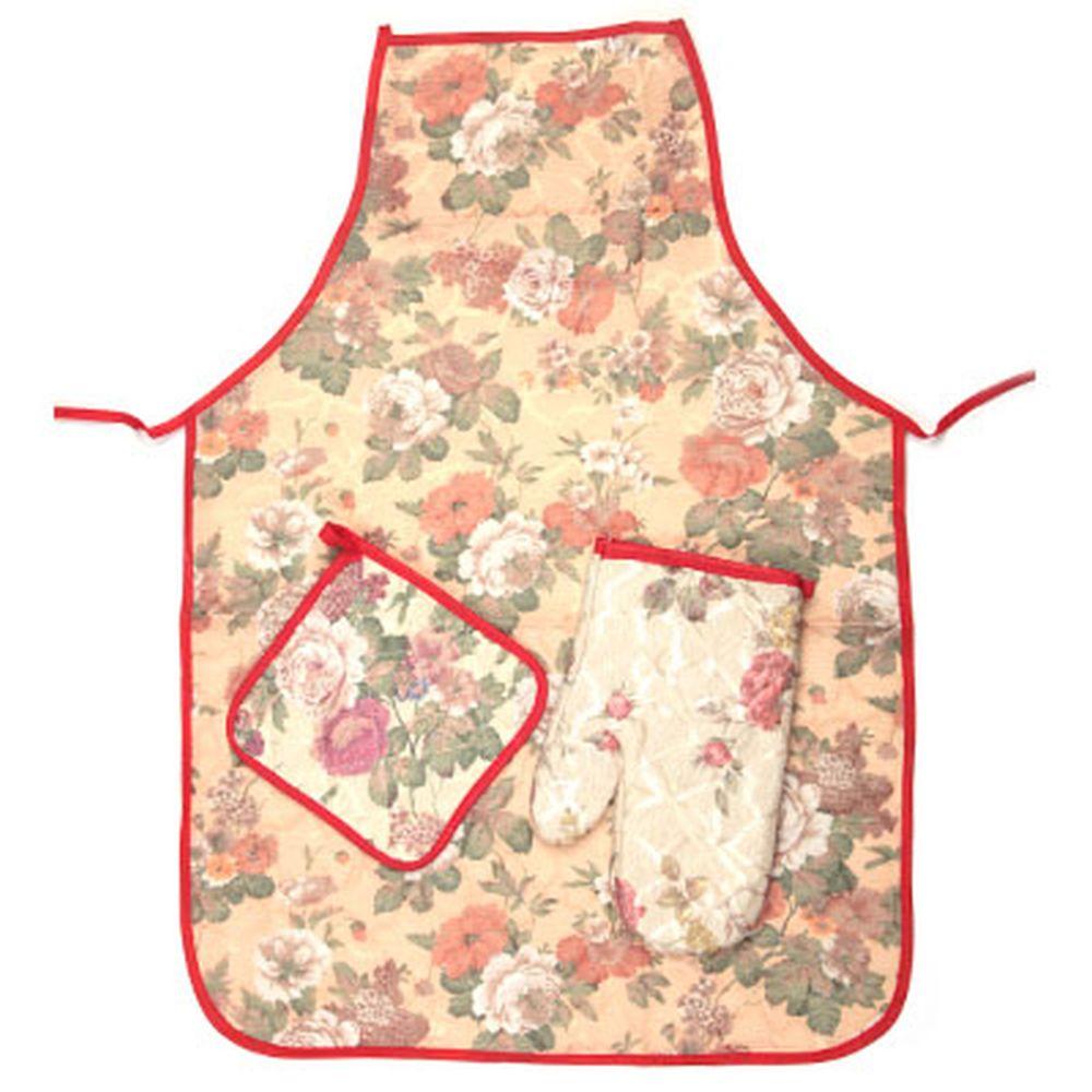 "Набор кухонный 3 пр. (варежка, прихватка, фартук), ""Цветы"""