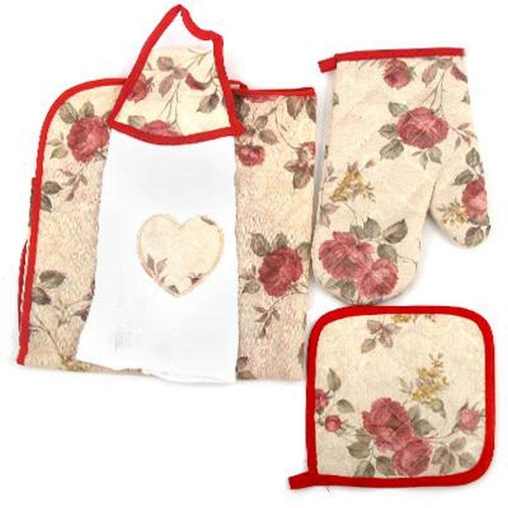 "Набор кухонный 4 пр. (варежка, прихватка, полотенце, фартук), ""Цветы"""
