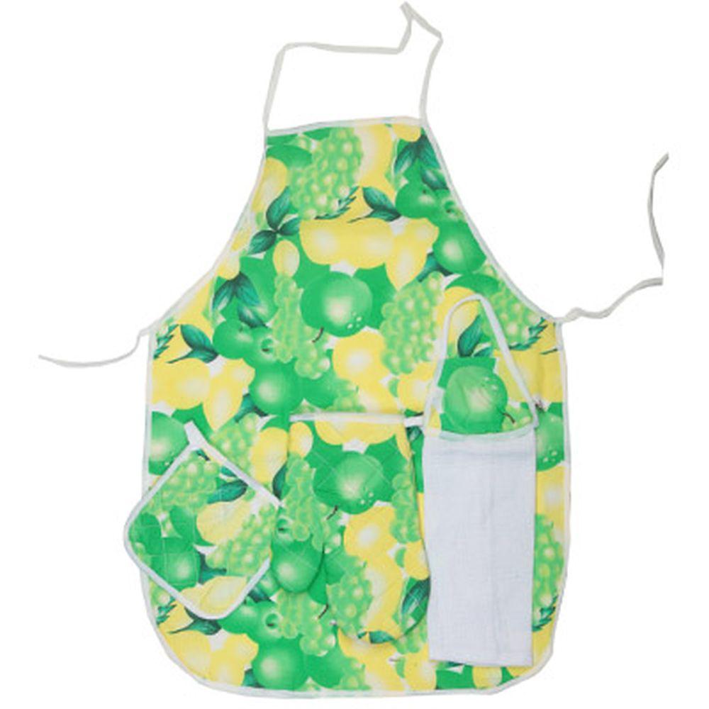Набор кухонный 4 пр. (варежка, прихватка, полотенце, фартук), волокна
