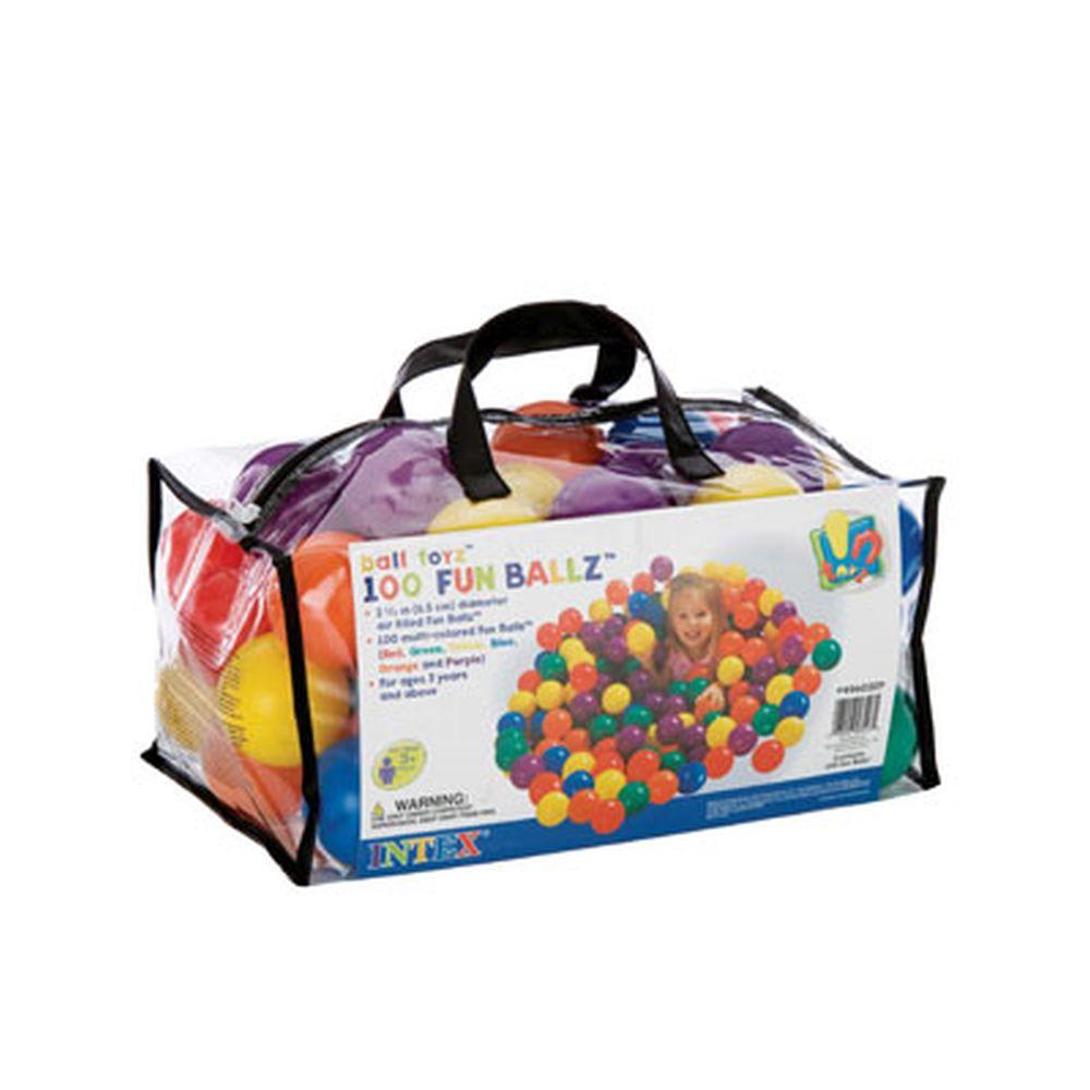 Набор пластиковых мячей для игровых центров, 100шт, d6,5 см, возраст от 3 лет, INTEX, 49602