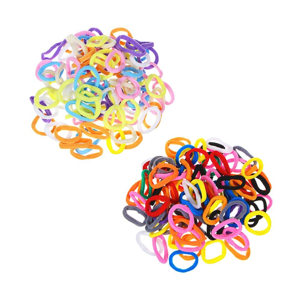 Набор резинок для волос 100шт., полиэстер, 3,5 см, 7-10 цветов