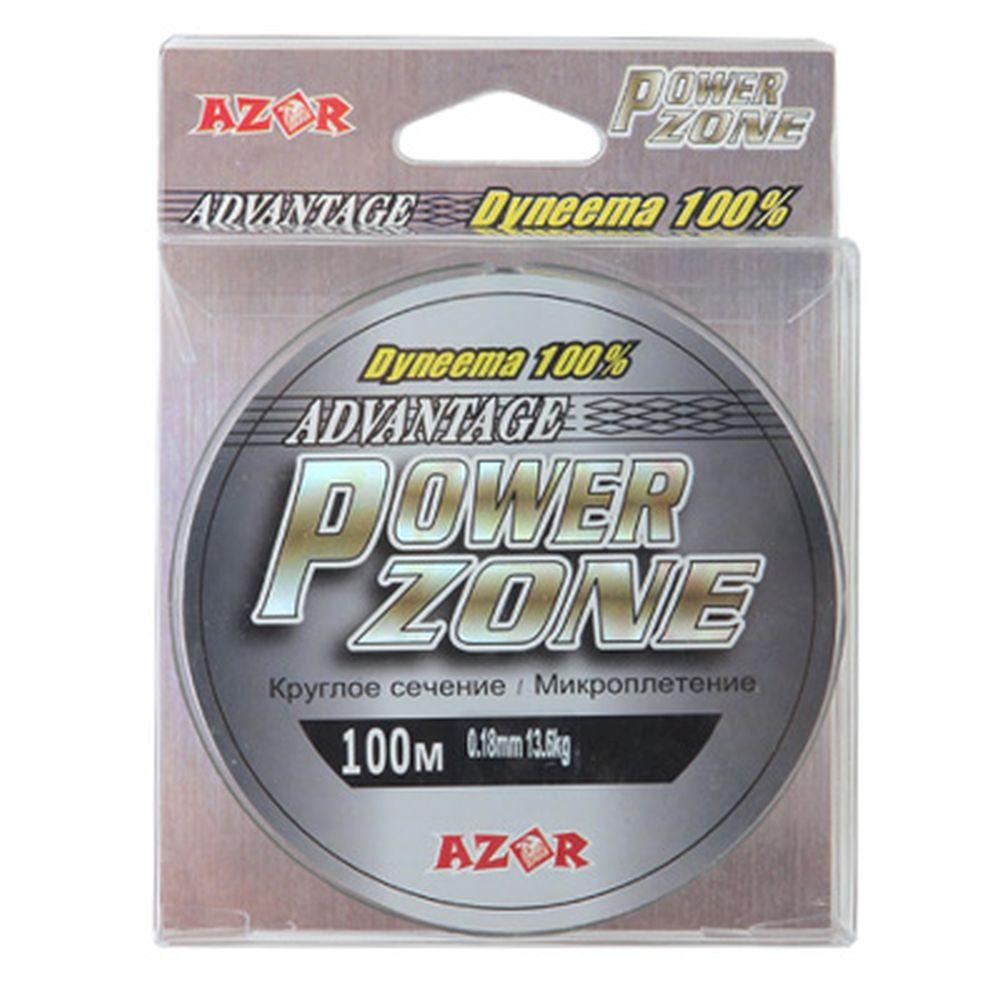 AZOR Леска плетенка Power Zone (Dyneema) серо-зеленая 0,18мм, 13,6кг