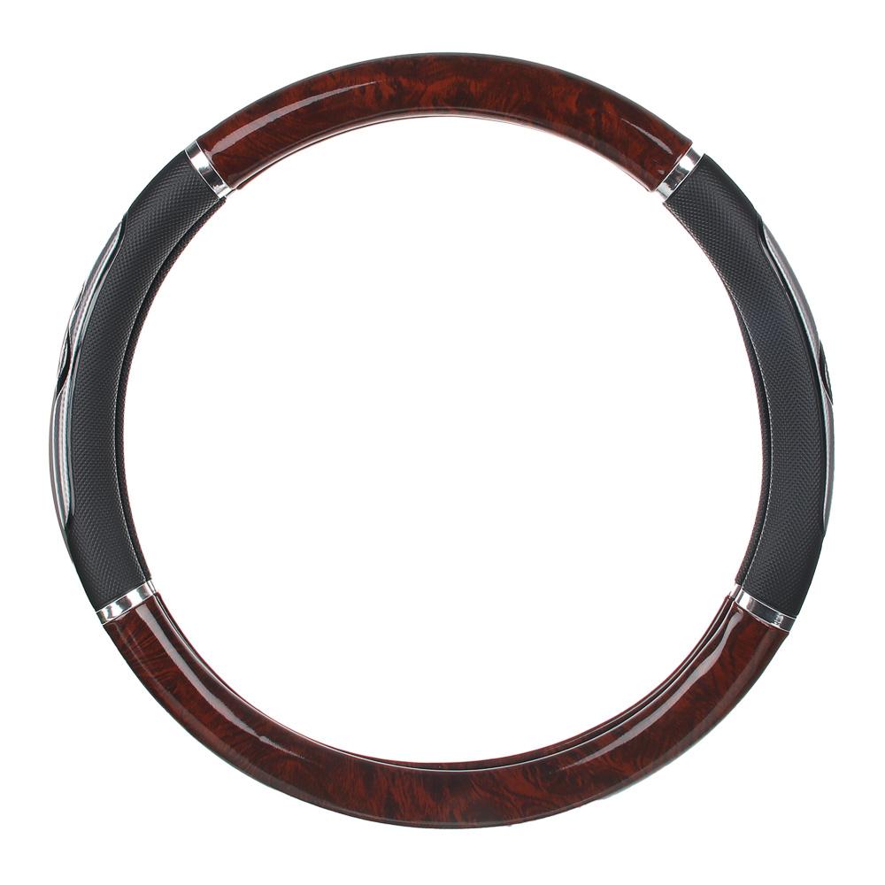 """NEW GALAXY Оплетка руля, гелевая, со вставками """"красное дерево"""", черный, разм. (М)"""