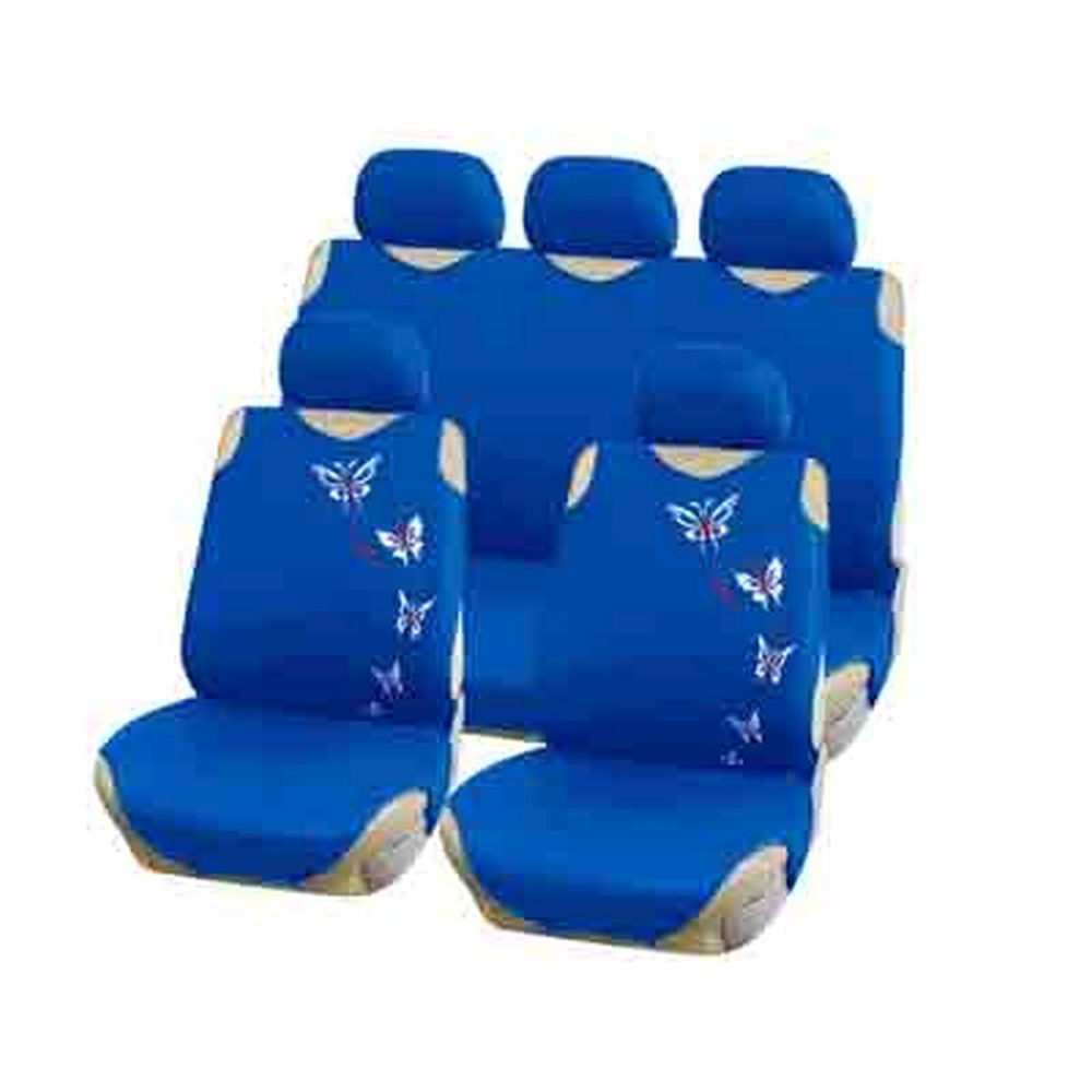 NEW GALAXY Чехлы автомобильные универ. 9 пр., тип майка, ПЭ, поролон 2мм, синий-бабочки, 6218