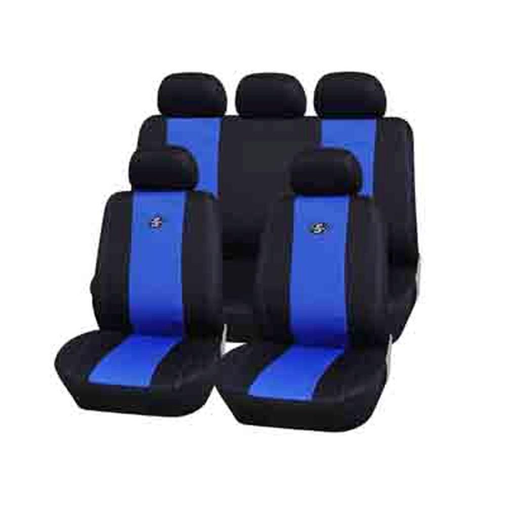 NEW GALAXY Чехлы автомобильные универ. 9 пр., карбон.волокно+сетка, поролон 2мм, черно-синие, 3216