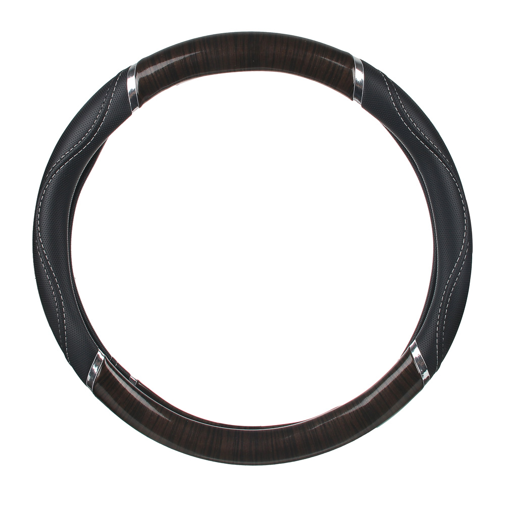 """NEW GALAXY Оплетка руля, экокожа, со вставками """"дерево"""", черный, разм. (M) CB1201003BK"""