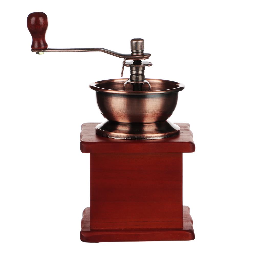 Кофемолка с деревянным основанием, металл, 10x10x17,5см