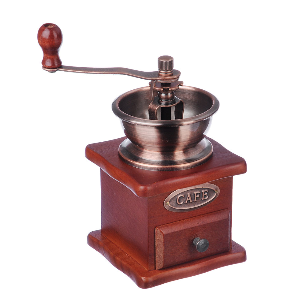 Кофемолка с деревянным основанием, металл, 10x10x17,5 см