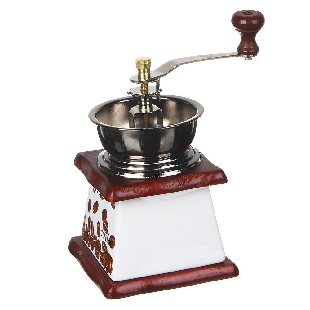 Кофемолка с керамическим основанием, металл, дерево, 10x10x17,5см