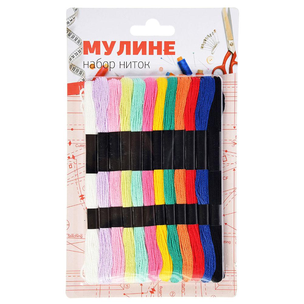Набор ниток мулине, 12 мотков х 8м, цветные, полиэстер