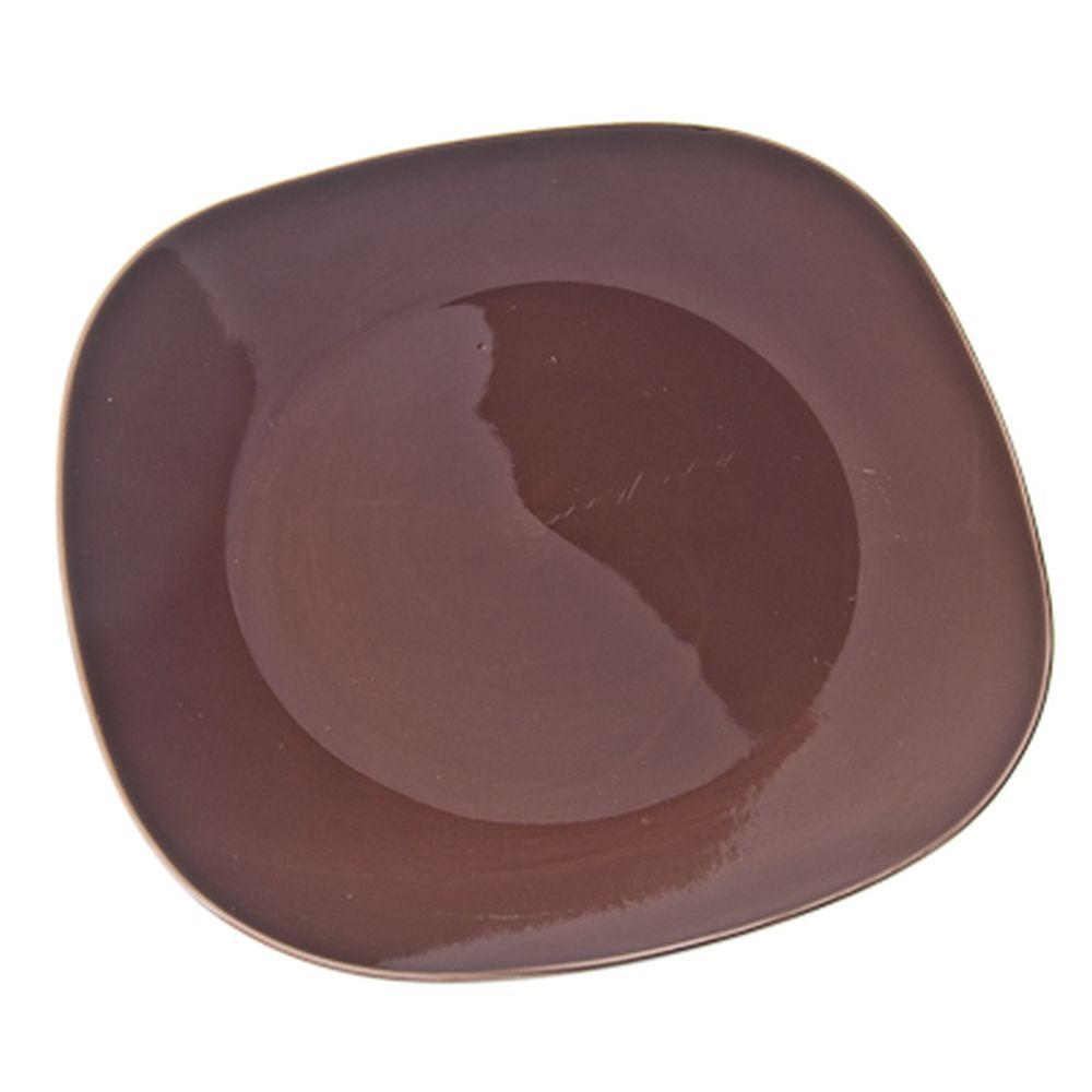 VETTA Гирра Тарелка подстановочная квадратная коричневая керамика 28,5см
