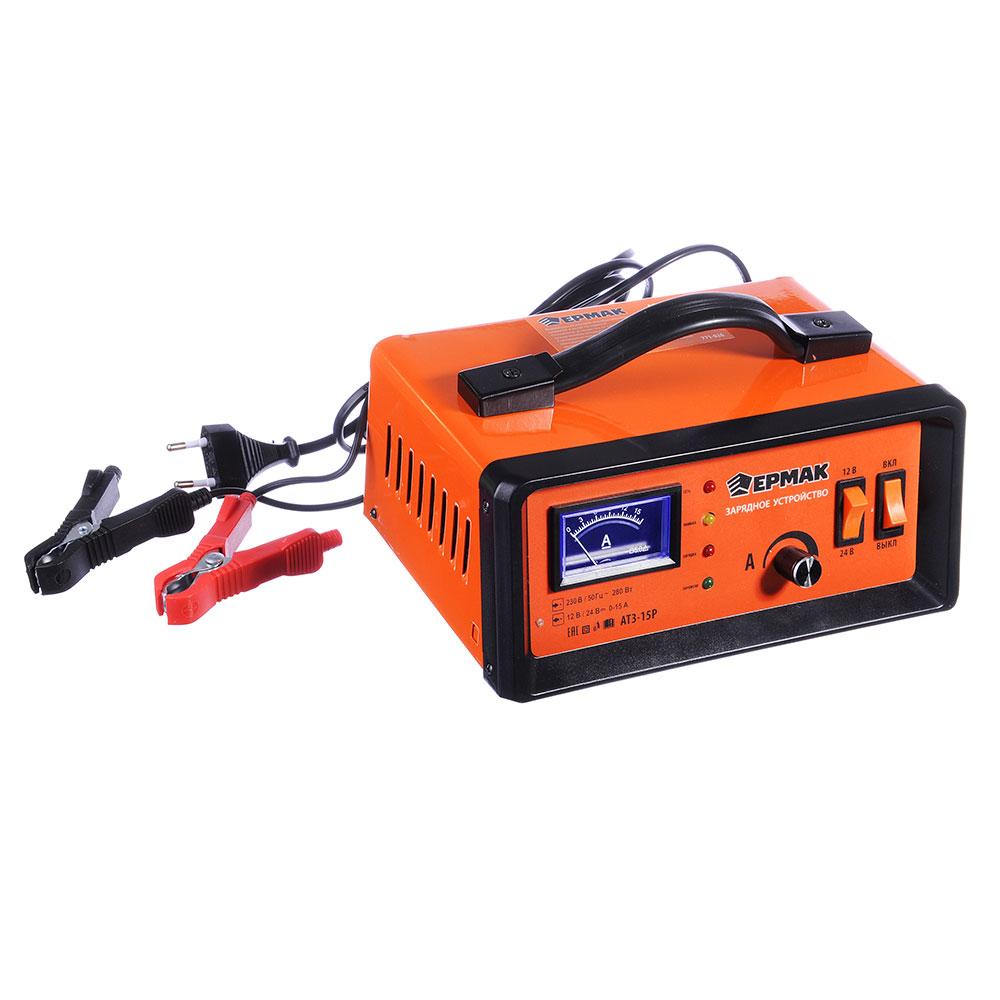Зарядное устройство автоматическое АТЗ-15Р, 0-15A, 12В/24В, металлический корпус, регулировка тока,