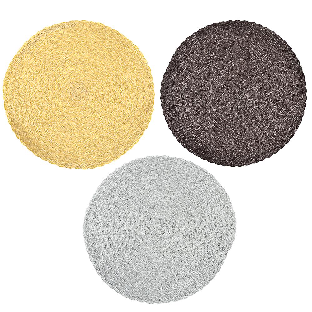Салфетка крупноплетеная пластик, d39см, 3 цвета