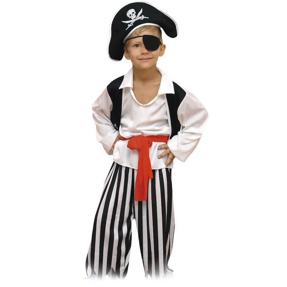 """Костюм карнавальный шляпа, """"Пират"""" повязка, рубашка, пояс, штаны, рост 122см, полиэстер"""
