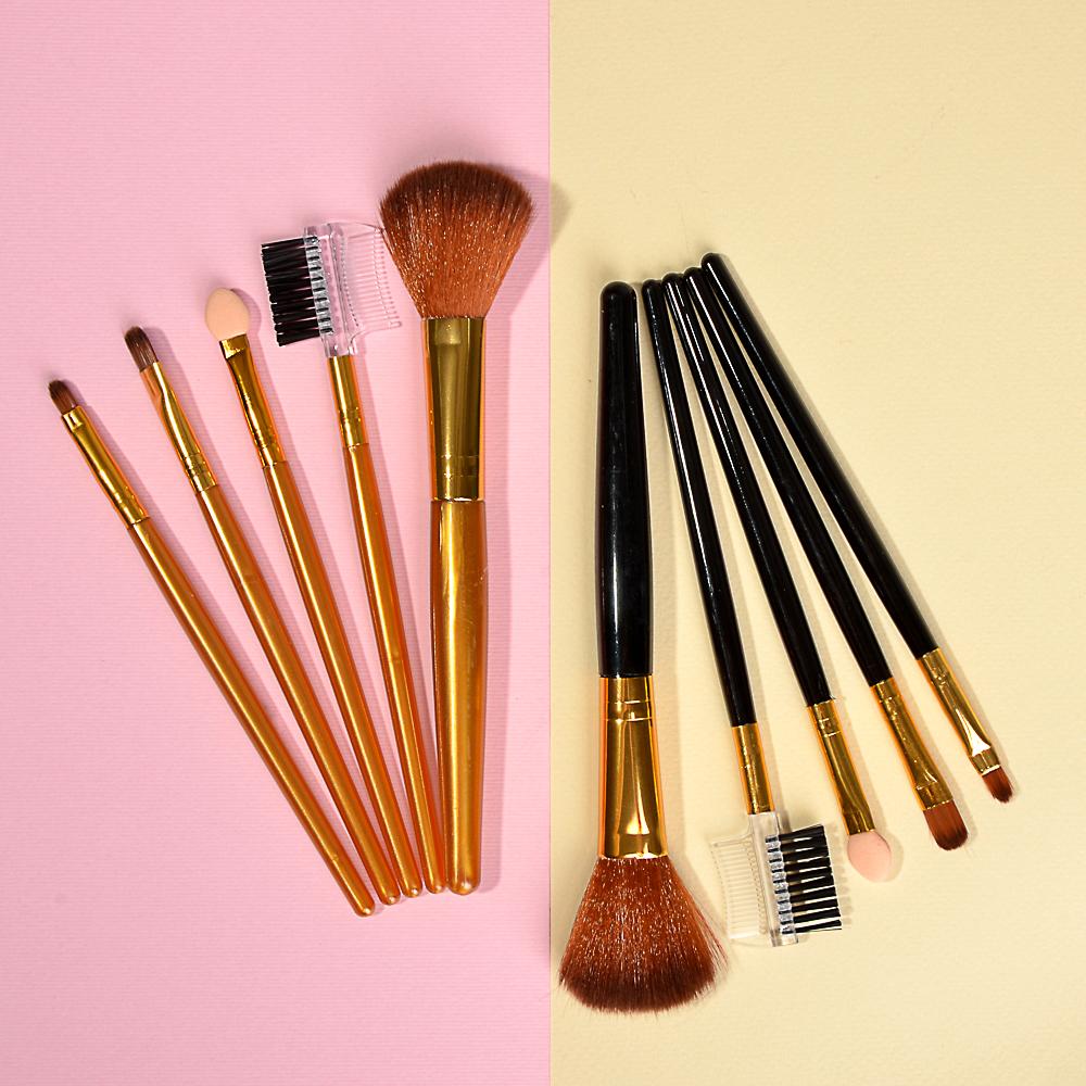 Набор кистей для макияжа 5шт, пластик, синтетич.нейлон, 16см, 3 цвета