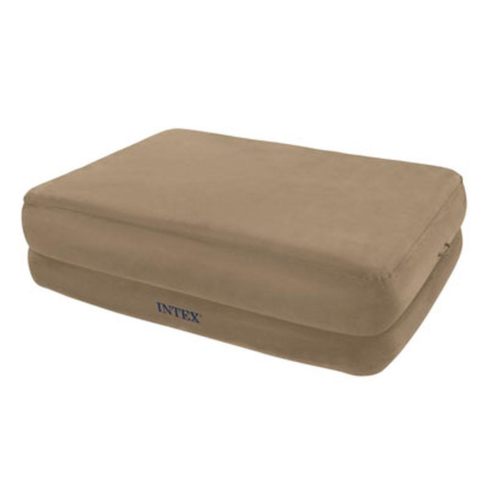 INTEX Кровать флок Foam Top, встр.элнасос, белый, 152*203*51см 67956