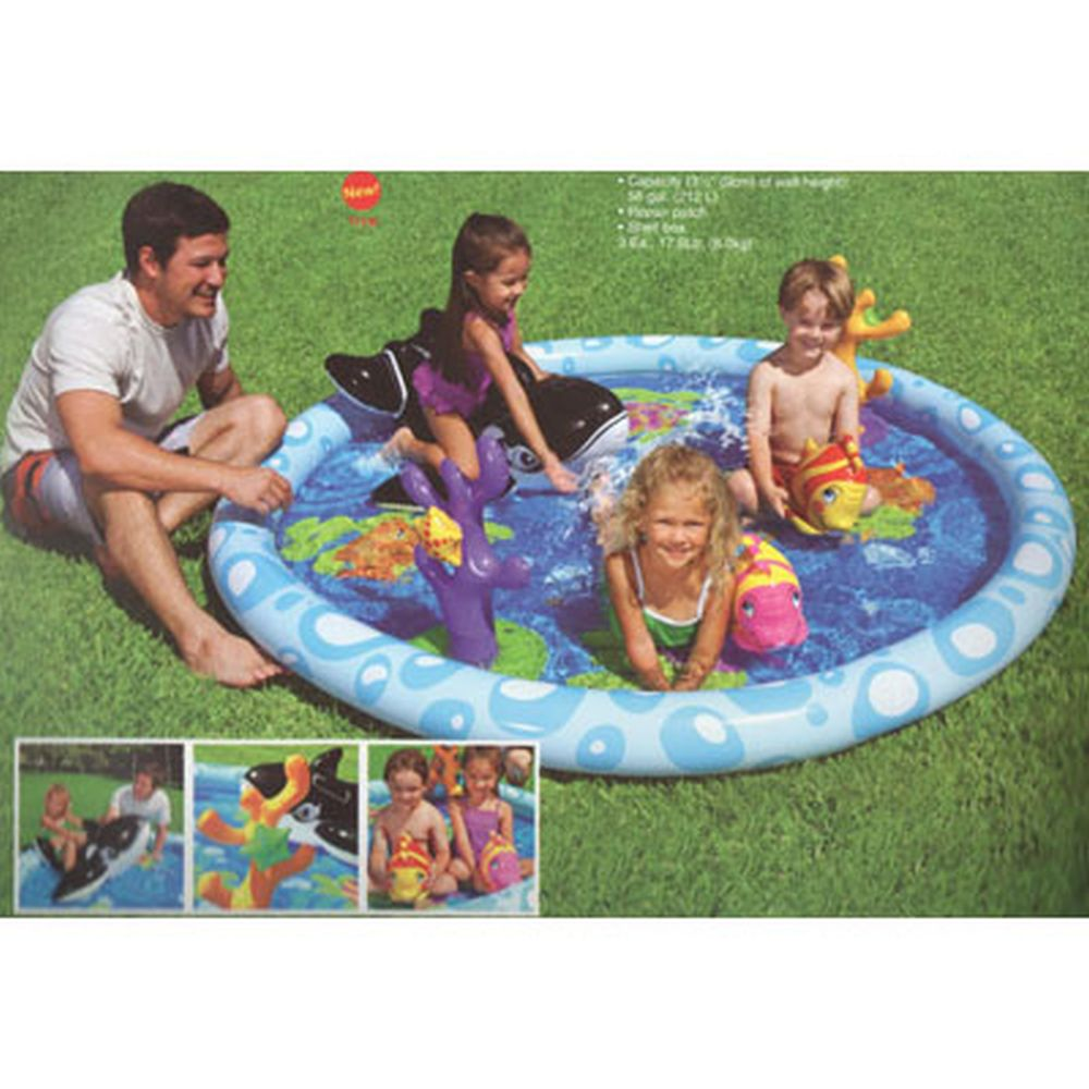 INTEX Центр игровой Веселые рыбки, бассейн 196*9см, игрушки для катания, 57448