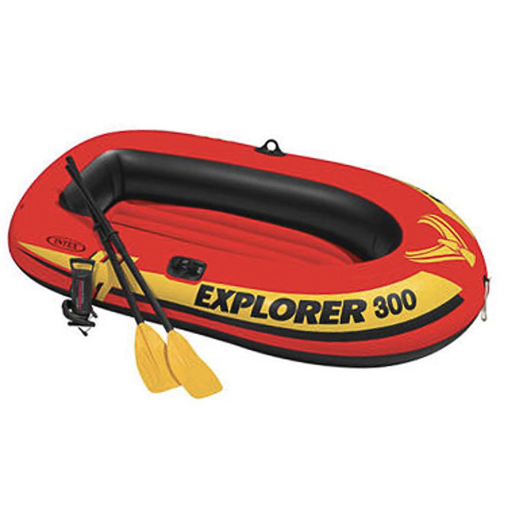 Лодка надувная, насос, весла, до 186 кг, 211х117х41 см, возраст от 6 лет, INTEX Explorer 300, 58332