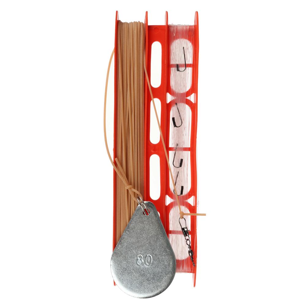AZOR FISHING Снасть донная оснащенная (леска 30 м/крючок 5 шт/резинка 10 м/груз 80г/карабин 2 шт)