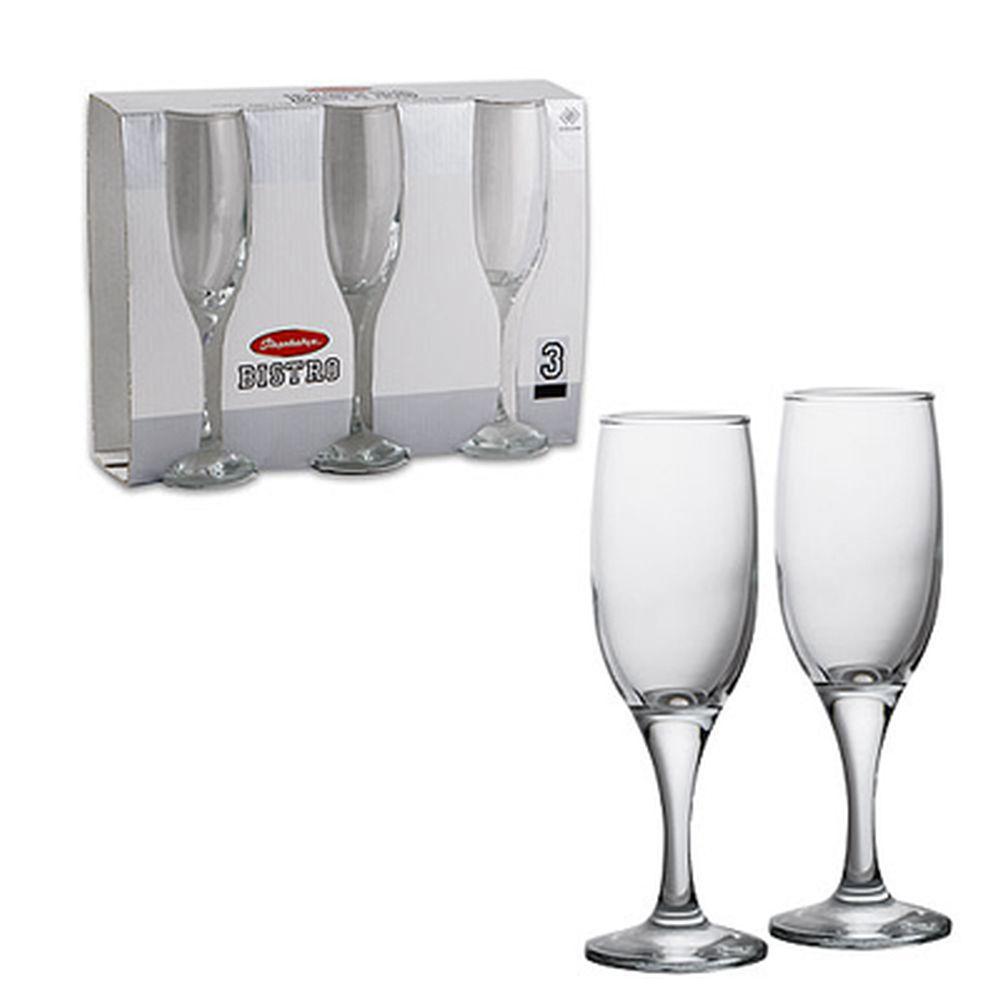 Набор фужеров 3шт для шампанского 275мл, Бистро 44136