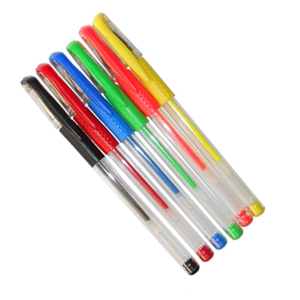 Набор ручек гелевых 6шт, цветные, с рез.держателем, в пластик.упак., F021