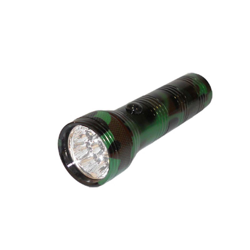 Фонарик металл со светодиодами, цвет камуфляж (цинк. сплав), 9 LED, бат. 3хААА, арт. BL-303PM-9c