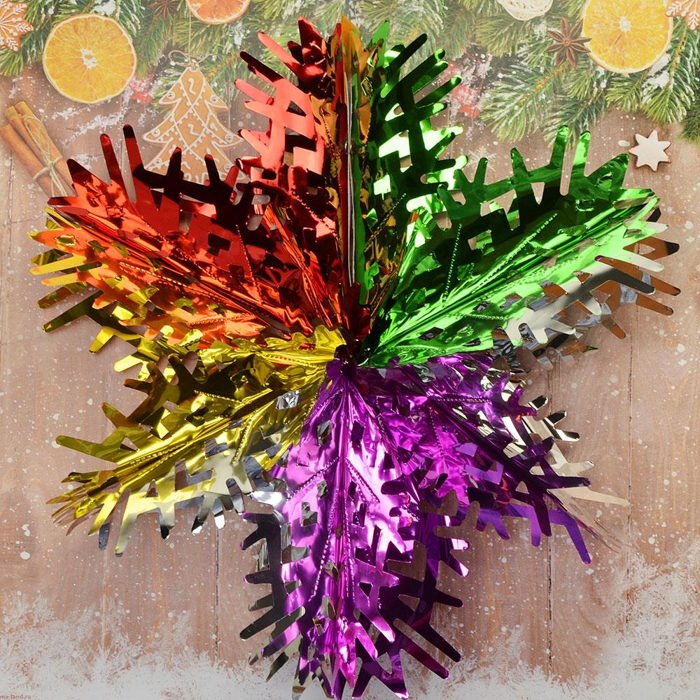 Гирлянда-подвеска СНОУ БУМ 40см ПВХ, многоцвет, в виде Снежинки, MYH-093