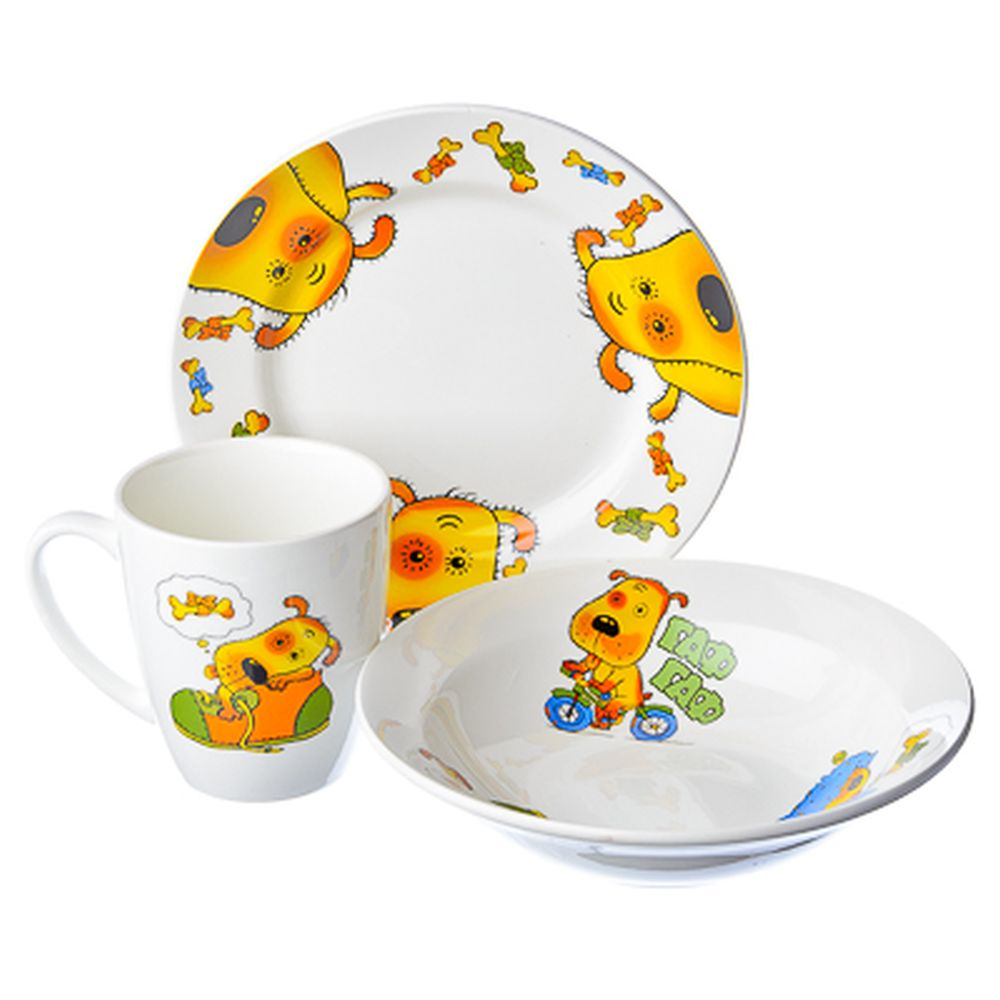 Набор детский 3пр Гав-гав (миска 175мм, тарелка 175мм, кружка 200мл) 0839
