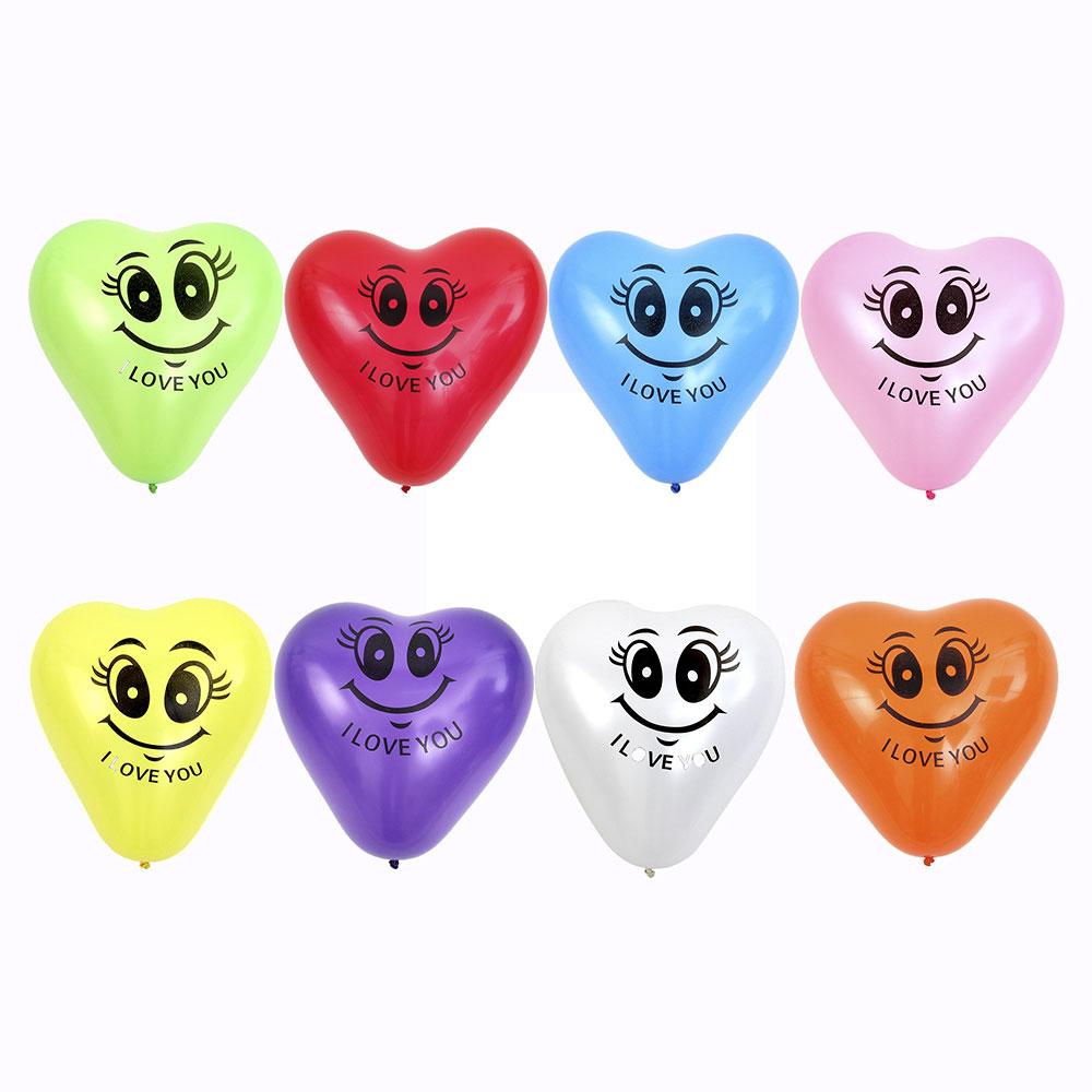 """Шары воздушные, 10 шт, 12"""", цветные в пакете, """"Сердце Я тебя люблю"""""""