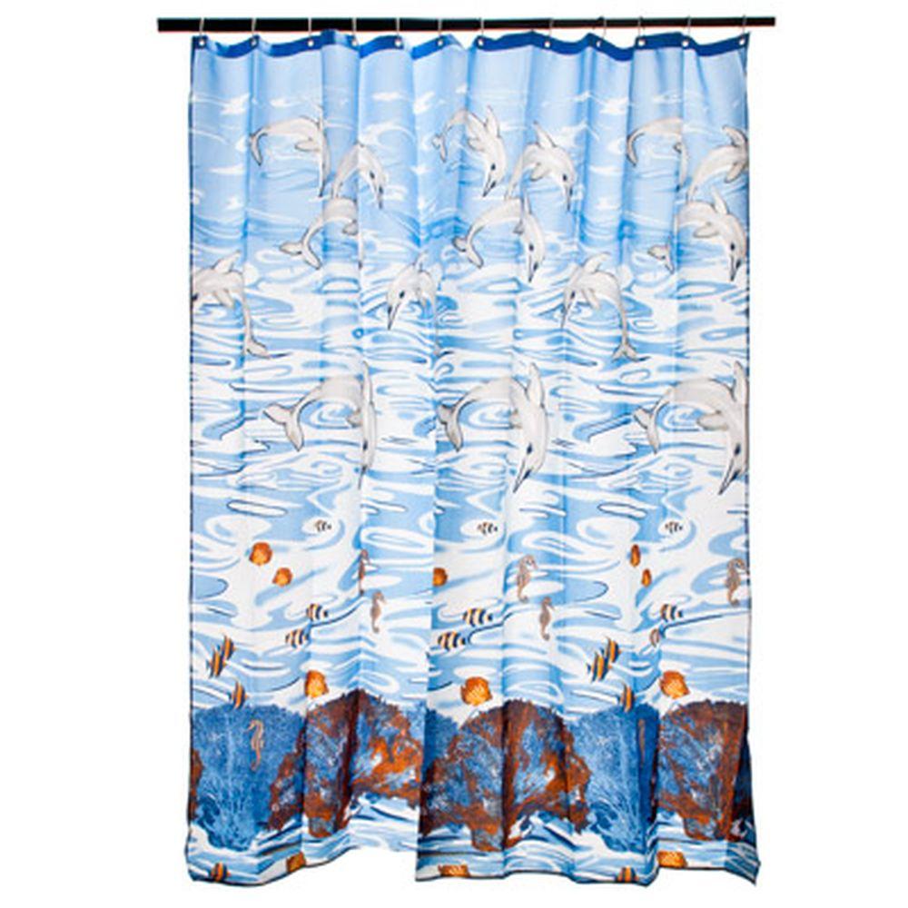 """VETTA Шторка для ванной, ткань полиэстер с утяжелит, 180x180см, """"Дельфины"""" арт YQL-1043"""